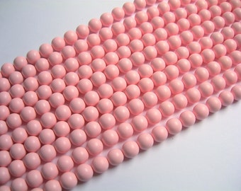 Pearl - 8 mm round - Satin matte  Pearl  - Pink - 1 full strand - 49 beads - SPT24 - Shell pearl