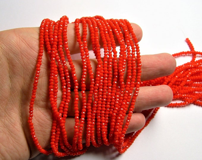 Crystal - rondelle faceted 3mm x  2mm beads - 196 beads - AA quality - opaque - dark orange  - CAA2G180