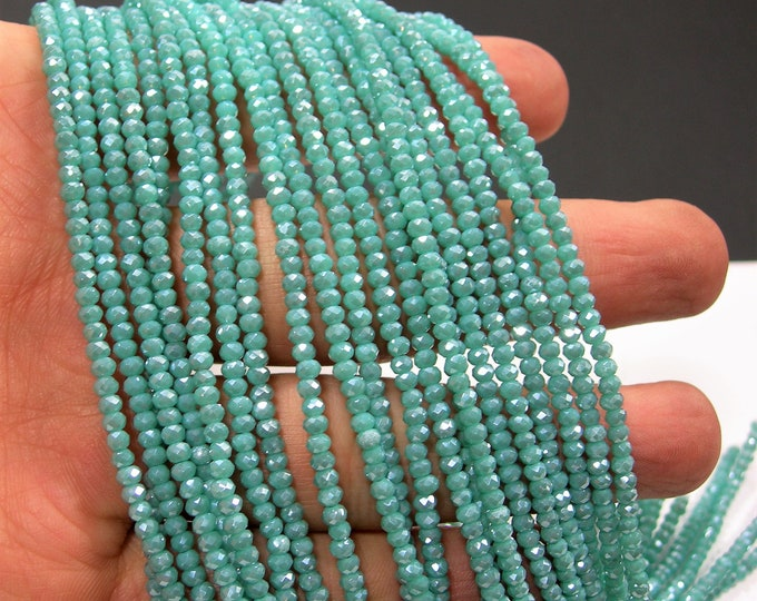 Crystal - rondelle faceted 3mm x 2mm beads - 190 beads - AA quality - Blue Aqua  - CAA2G238