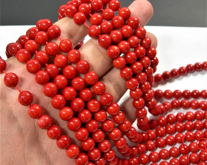 Coral red - 8mm round bead -  full strand  - 48 beads - AA quality - RFG557