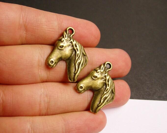 Horse charms - 6 pcs - antique bronze brass horse charms - BAZ57