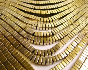 Hematite gold - 4x2mm heishi square slice beads - full strand - 190 beads - A quality - light gold - PHG106