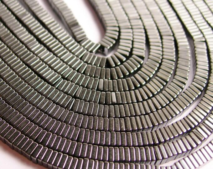 Hematite - 3mm x 1mm heishi square slice beads -  full strand - 390 beads - AA quality - CHG10