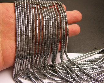 Hematite silver - 3x3mm tube beads - full strand - 133 beads - AA quality -  - PHG141