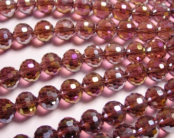Crystal - round faceted 12mm beads - 20 pcs - AA quality - Sparkle fire purple
