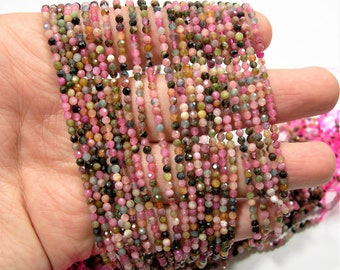 Tourmaline - 2.6mm faceted round beads - full strand - 150 beads - multi color tourmaline - micro faceted - PG188