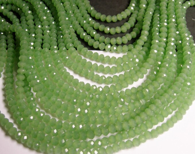Crystal faceted rondelle - 135 pcs - 18 inch strand - 4 mm - A quality - green  - FCRM50