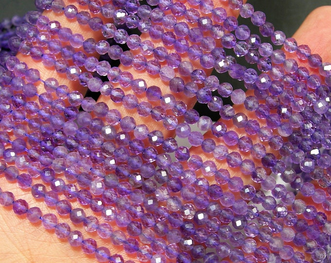 Amethyst - 4mm(3.8mm) micro faceted round beads - 1 full strand - 102 beads  - Amethyst gemstone - A Quality - PG208