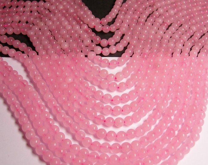 Pink Jade -  6mm (6.4mm) round beads - full strand - 62 beads - color pink Jade - RFG957