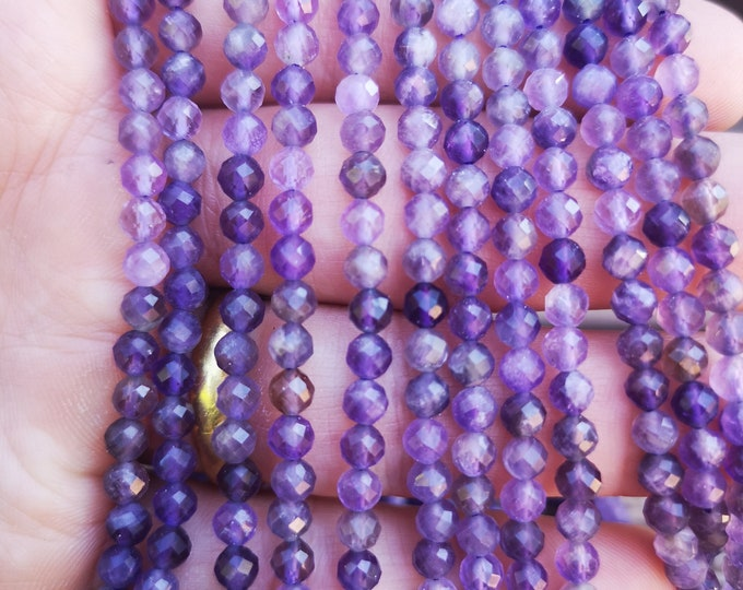 Amethyst - 4mm micro faceted round beads - full strand - 90 beads  - Amethyst gemstone - PG389