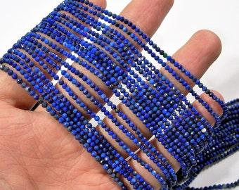 Lapis Lazuli - 2mm faceted round beads - full strand -  188 beads - micro facted Lapis Lazuli  - PG137