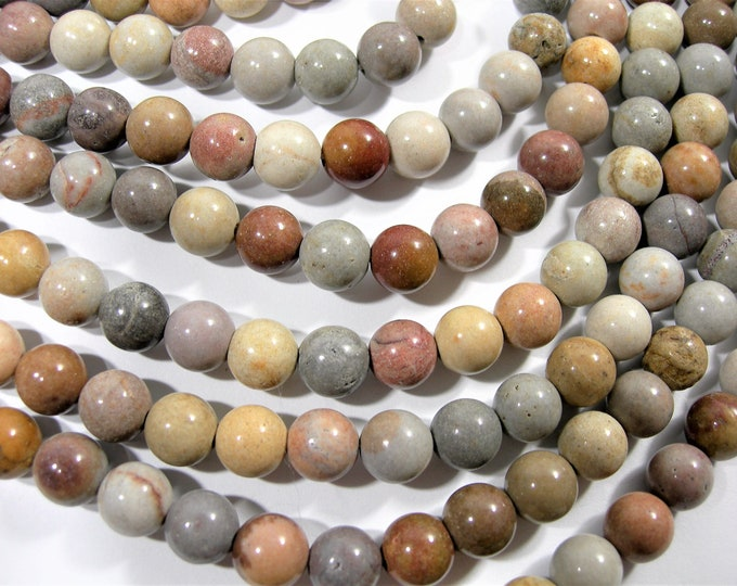 Light Picture Jasper - 8 mm round beads - full strand  47 beads - RFG1753