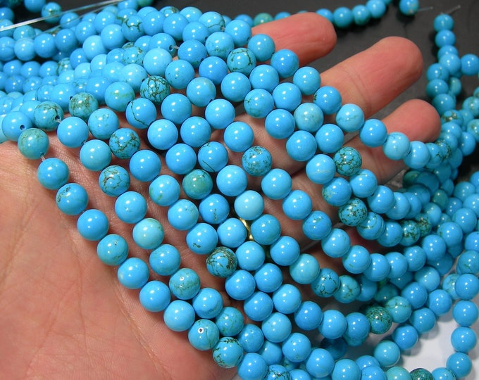 Howlite turquoise - 8mm round beads - full strand - 49 beads - RFG2275