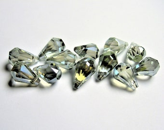 Crystal briolette  - 12 pcs - 9mmx14mm - top sideways drill - Faceted teardrop crystal  beads - mystic smoky green ab - CBC4