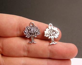 12 tree charm -  antique silver tone charms - 12 pcs - tree of life -  ASA103