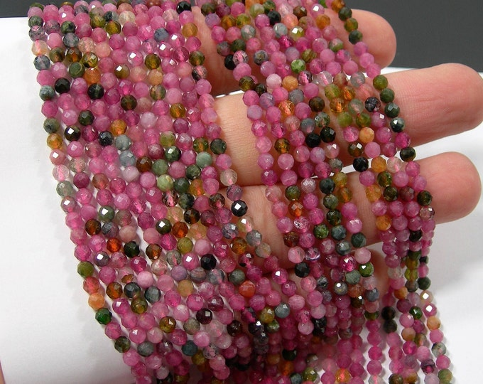 Tourmaline - 3mm(3.4mm) micro faceted beads - full strand - 115 beads - PG359