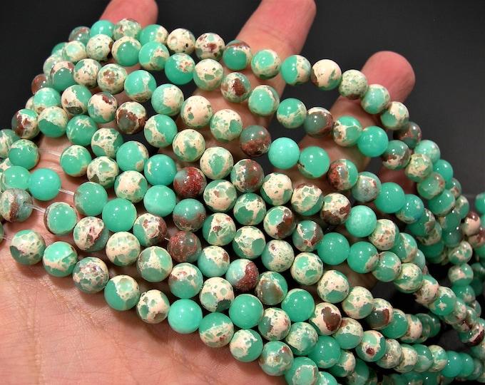 Impression Jasper Sea aqua - 8mm round beads - full strand - 47 beads - reconstituted -  A quality - RFG1736