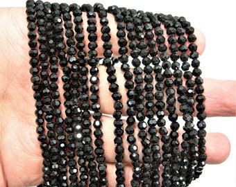 Crystal Black - round faceted 4mm beads - 99 beads - black - Full strand - RFG1968