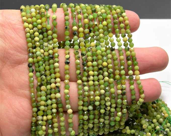 Yellow Green turquoise - 3mm micro faceted round beads -  full strand - 129 beads  - A Quality - PG220