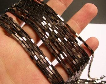 Hematite Charcoal - 4mm rectangle beads -  full strand - 100 beads - AA quality - 4x2 - PHG237