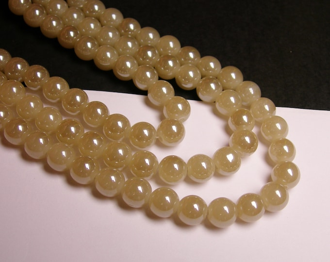 Crystal - round - 10 mm - Milky beige grey - full strand - 34 beads - HW3A