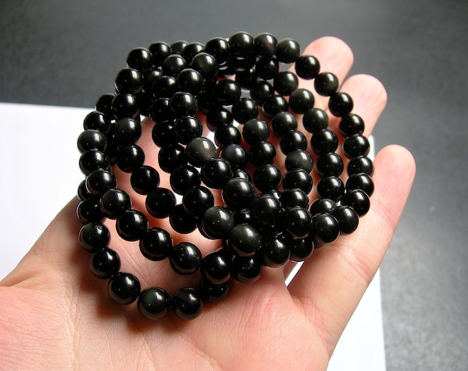 Obsidian  - 8mm round beads - 23 beads - 1 set - A quality -  Rainbow obsidian  - HSG60