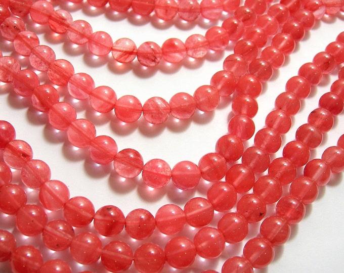 Cherry quartz -  10 mm round -  AA quality - 40 beads -  full strand - RFG966