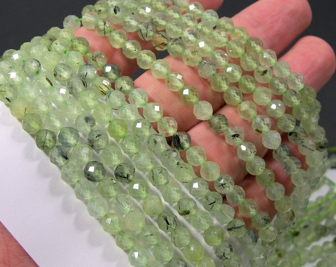 Prehnite - 5.5mm faceted round beads - Full Strand - 71 beads - Micro Faceted - PG362
