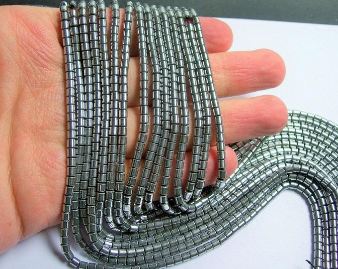 Hematite Silver - 3mm tube beads -  full strand - 133 beads - AA quality - 3mmx3mm - PHG213