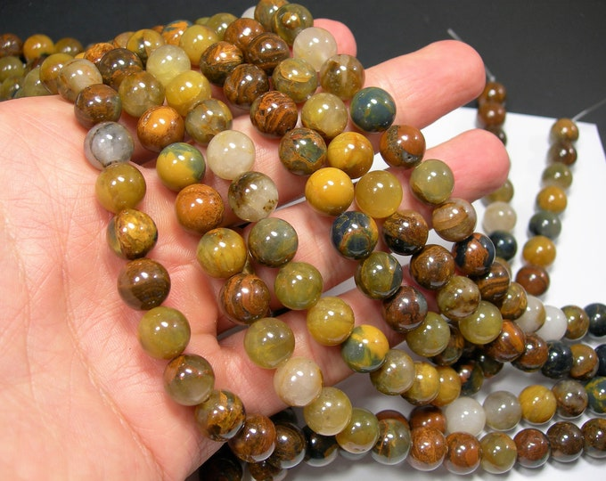 Golden Pietersite - 10 mm round bead - A quality - 39 beads - full strand - RFG2283