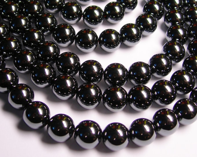 Hematite - 12 mm - round beads -1 full strand - 35 beads -