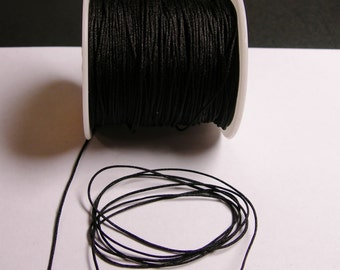 Nylon Cord - knotting/beading cord - 1mm - 70 meter - 230 foot - Black - N4