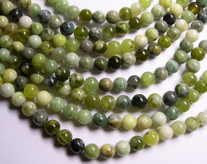 Jade - 10 mm round  beads - 40 beads per strand - mix new jade - RFG1058