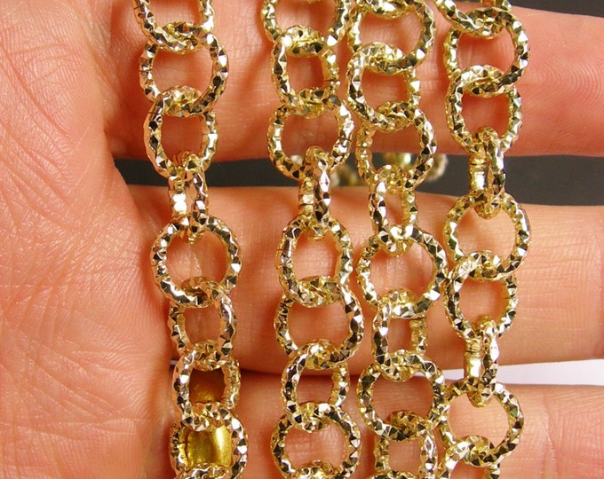 Gold chain - lead free nickel free won't tarnish - 1 meter-3.3 feet - aluminum chain - hammered - etching