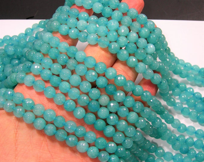 Jade - 8 mm faceted round beads - full strand - 48 beads - Blue Jade - RFG1998