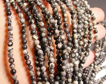 Silk Stone -  4 mm - round bead - 88 beads - full strand - Spider Jasper - RFG1023