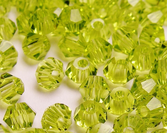 Crystal 3mm Bicone 100 pcs AA quality --sparkle soft peridot