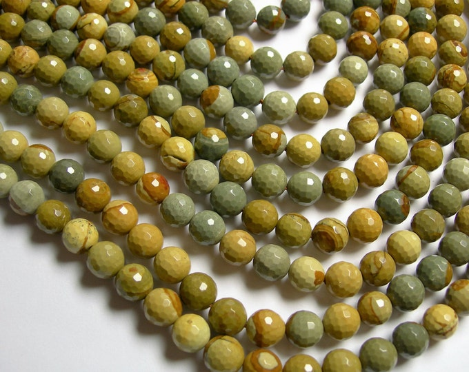Wild horse Picture Jasper - 8 mm faceted round beads - full strand - 49 beads - AA quality - RFG1061