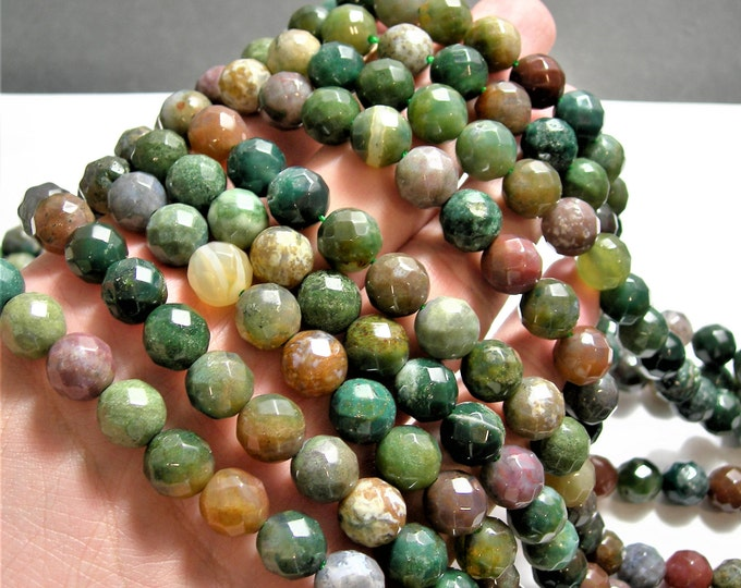 Indian Agate - 10 mm faceted round beads -1 full strand - 39  beads - A quality - RFG1474
