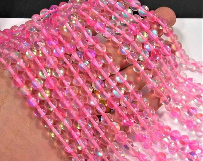 Pink Mystic aura quartz - 8mm round - Holographic quartz - 49 Beads - full strand - RFG1800