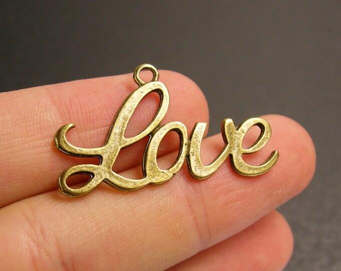 12 love charms - 12 pcs - antique bronze brass heart  charms -  BAZ69