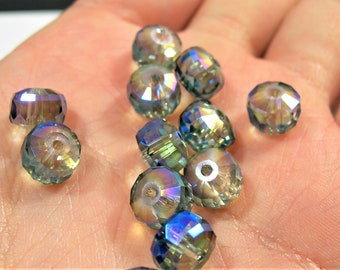 Crystal faceted rondelle wheel - 12 pcs - 7mm x 10mm - AA quality - mystic smoky blue - BCR23