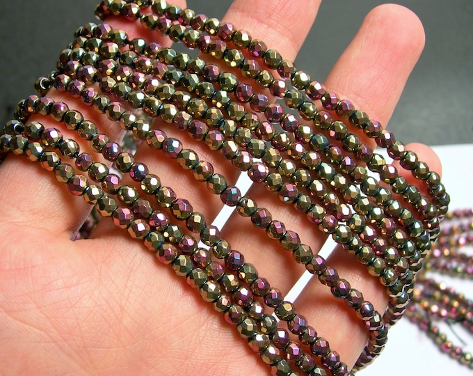 Hematite golden mauve mix - 4 mm faceted round beads - full strand - 103 beads - AA quality - dual tone - PHG223