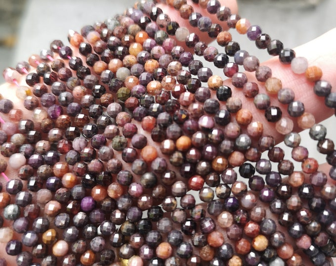 Ruby Corundum - 4mm(3.75mm) micro faceted round beads - full strand - 107 beads - Mix tone Corundum mineral - PG390