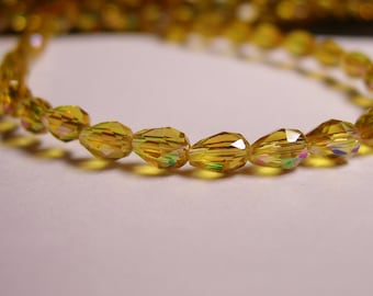 Faceted teardrop crystal  beads 100 pcs - 3mm x 5mm - sparkle yellow - CLGD2