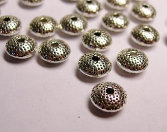 Silver rondelle spacer Silver color beads hypoallergenic - 40  pcs - 8mm diameter - textured dotted - NAZ38