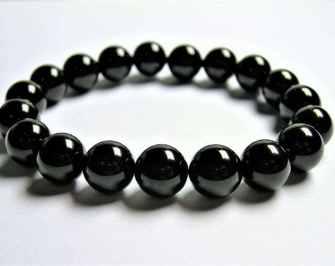 Black onyx - 10mm round beads - 19 beads - 1 set - A quality - HSG82