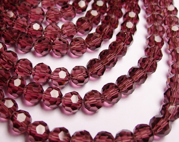 Crystal round faceted 8mm beads - 72 beads - AA quality - light garnet purple color - Full strand