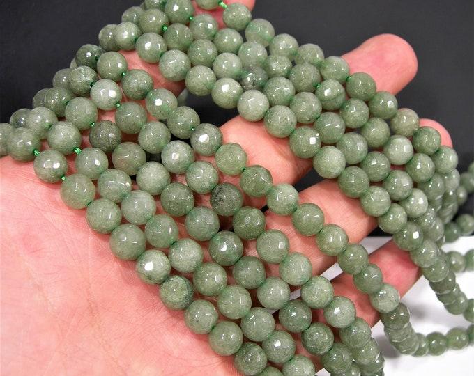 Jade - 8 mm faceted round beads - full strand - 48 beads - Khaki olive Jade - RFG2042