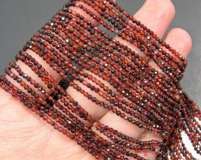 Hessonite Garnet - 2mm faceted round beads - full strand  184 beads - micro facted mix tone Hesonite garnet - A quality - PG279
